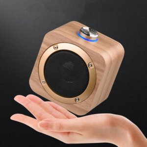Q1B Portable Speaker Wooden Bluetooth 4.2 Wireless Bass Speakers Music Player Built-in 1200mAh Battery 2 Colors