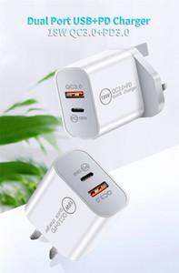 PD Быстрое зарядное устройство 18 Вт / 20 Вт с типом C и USB-порт QC 3.0 для iPhone Samsung