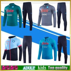2020 2021napoli football Jacket Training Former 20 21 hommes Kids Naples Football Football TrackSuit Mertens Koulibaly Long Fermeture à glissière Veste Sportswear Set