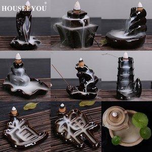 Sacchetti Sachet Houseeyou 14 tipi di decorazione domestica creativa Backflow Stick Bruciatore di incenso Bruciatore di incenso in ceramica Vetrina Decorazione censer in camera