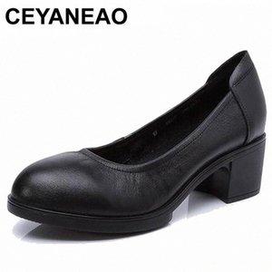Ceyaneao 2019 donne in vera pelle tacchi alti pompe femminili OL confortevole scarpe da lavoro nero 34-41E1927 J3SB #