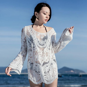 Fashion Womens White Summer Sexy Lace Hollow Knit Bikini Swimwear Cover up Crochet Beach Tops Blouse