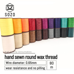 SOZO 0.65mm hand sewn round wax thread 85M Hand Sewing Line Leather Craft work Tool Polyester