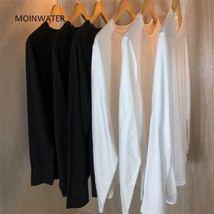 Moinwater New Women Casual Manga larga camiseta Lady 100% algodón camisetas Femenino suave negro Base Base Tales Tops MLT 210306