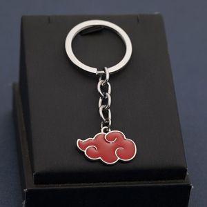 hot cake Cosplay Naruto Anime Keychain Souvenir Akatsuki Organization Red Cloud Sign Metal Pendant Ring Bag Charm Key Holder Chaveiro