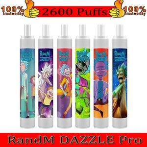 Original Randm Dazzle Pro 스위치 일회용 장치 키트 6ml 포드 2600puffs 1100mAh 배터리 vape 펜 LED RGB 빛 IGET XXL 정통