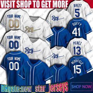 15 Whit Merrifield Trikots George Brett Jersie Danny Duffy Kansas City City Custom Royals Baseball Jersey Bo Jackson Jerseys Hunter Dozier