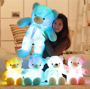 30 cm 50 cm Bow Tie Teddy Bear Bambola dell'orso luminoso con LED integrato Colorato Luce luminosa luminosa Valentine's Day Regalo Peluche Ty0004