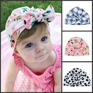 새로운 유럽 미국 아기 모자 토끼 귀마개 터번 매듭 머리 랩 유아 아이 인도 모자 귀 덮개 Childen Floral Print Beanie H540 106 Y2