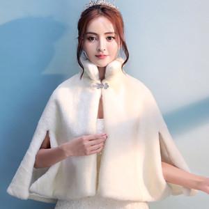 Women Ivory Faux Fur Wedding Bridal Cloak Winter Warm Evening Party Cape Bridesmaid Prom Bolero Jacket Mandarin Collar Coat