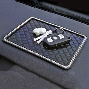 Car Rhinestone Anti Slip Mat 18*14cm Crystal Diamond Silicone Non-Slip Dashboards Pad Car Sticky for GPS Phone Car Interior Accessories
