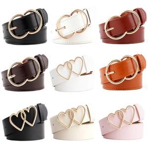 11 estilos Fashion Women's Belt Women's Business Doble redondo Hebilla Wild Ladies Cintura Cinturón De Amor Hebilla Decoración Decoración Cinturones Femeninos