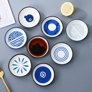 Ceramic Plate Home Kitchen Tableware Kitchen Dip Plate Small Vinegar Plate Soy Sauce Plates 7 Style XD24520