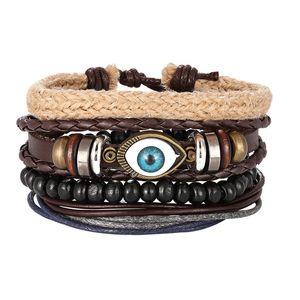 Mix 3 4Pcs  Set Bracelets & Bangles Mens Leather Bracelets 2019 Vintage Wooden Beads Ethnic Tribal Wristbands Bracelet Evil Eye