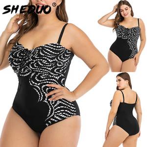 Swimsuit Plus Size Swimwear Women Monokini Sexy Padded String Bathing Suit Bodysuit Female Large Swimsuit 6xl