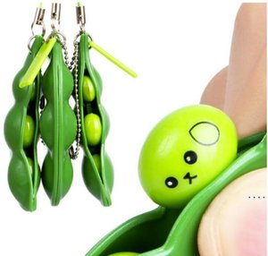 Squeeze Toys Extrusion Bean Keychains Pea Soybean Keyring Edamame Fidget Toys Decompression Toy Phone Straps Gift Party Favor OWB5342
