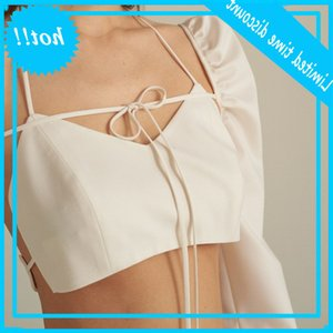 2021 spring new line chest wrapped sexy shoulder hollow out long sleeve suit women's wear