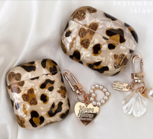 Luxury Leopard Pearl for Apple Airpods Case 1 2 3 Bracelet Chain for AirPods Pro Case Bluetooth Earphone Accessories Box Airpod case