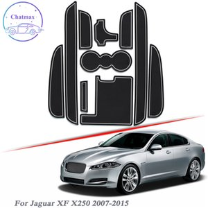 With Car Brand Logo 10pcs Car Styling For Jaguar XF X250 2007-2015 Latex Gate slot pad Interior Door Groove Mat Non-slip dust Accessory
