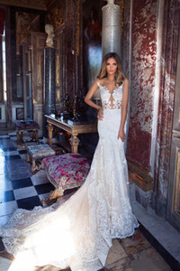 Designer 2021 Milla Nova Lace Mermaid Wedding Dresses Sheer Appliques Backless Sweep Train Bridal Gowns Formal Robe de soriee Custom Made