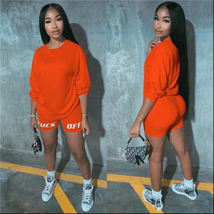 NEWDISCVRY Letter Print Casual Womens Two Piece Outfits Set Tracksuit Shirt Sexy Top biker Shorts Jogger 2 Piece Active 2021