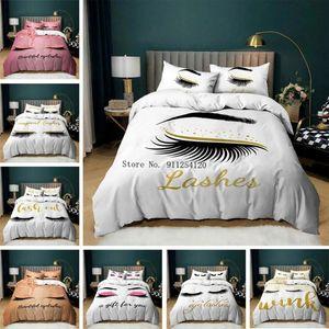 Bedding Sets Girly Pink Black White Eyelash 2 3 Piece Lovely Eyes Bed Linen Cartoon Duvet Cover Drop Bedspread