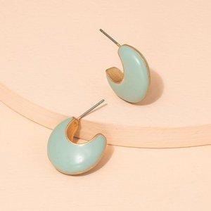 Hoop & Huggie 2021 Ins Gold Enamel Charming Geometric Minimalism Earrings Trendy Fashion Korean Women Party Jewelry Bijoux