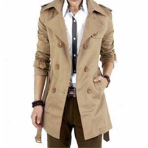 Men's Windbreaker Jacket Vintage Black Khaki Spring Autumn Smart Business Coat Male Double Breasted Retro Classic Long Coat Men