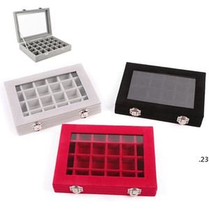 24 Grid Velvet Jewelry Ring Display Organizer Box Tray Holder Earrings Storage Case Showcase Display Storage Box 24 Section Boxes FWF5095