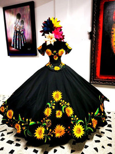 Modest Sunflowers Embroidered Quinceanera Dresses Charro Mexcian Style Ball Gowns Off The Shoulder Sweet 16 Dress 15 Girls Corset Bow Long