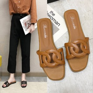 2020 New Style H Sandals Roe Drag A- line WOMEN'S Summer Diamond Shuanghuan Genuine Leather Hollow Pearl Decoration Slides J2023