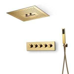Luxury TI-PVD Gold Color Doccia Set Misty Massage Soffione doccia A Cascata Sistemi a cascata Valvole di miscelatore in ottone termostatico