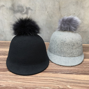 2021 New Black Gray Women Adjustable Baseball Warm Wool Faux Fur Pompom Winter Cap Hip-hop Snapback Hat Gorras Dropshing 40gk