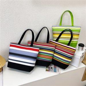 Student schoolbag Canvas storage bags shopping bag large Single Shoulder Bag Fashion portable women stripeBagZC446