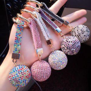 1pcs lot Full Ball Crystal Keychain Rhinestone Leather Strap High Quality Handbag Purse Bag Pendant