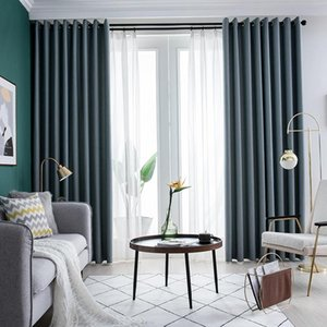 Curtain & Drapes Modern Blackout Curtains Pure Color Cotton Linen For Living Room Bedroom Window Treatment Blinds Finished