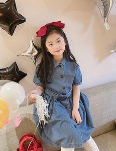 2021 Kids girls blue denim dress fashion summer princess short sleeve casual dress babies retail clothes