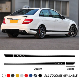 2021 Car Door Side Skirt Stripe Racing Sports Decal For Mercedes Benz C Class W204 C63 Coupe S204 AMG Accessories Edition 1 507