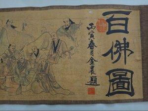 Yüz Buda'nın zarif eski Çin ipek kağıt boyama kaydırma