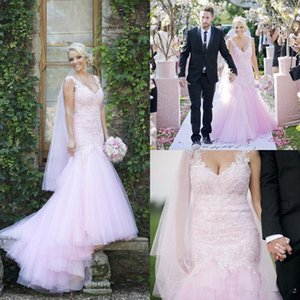 2021 Blush Pink Mermaid Wedding Dresses Lace Applique Beaded Crystals Tulle Sweep Train Custom Made Country Wedding Gown vestido de novia