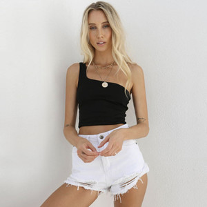 Summer Sexy Female Crop Tops Cotton Women Sleeveless One Shoulder Straps Tank Top Solid Fitness Lady Camis Casual Black Top