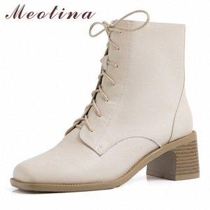 Meotina Kış Ayak Bileği Çizmeler Kadın Doğal Hakiki Deri Kalın Yüksek Topuklu Kısa Çizmeler Fermuar Kare Toe Ayakkabı Bayanlar Boyutu 34 40 Çizmeler 26PJ #
