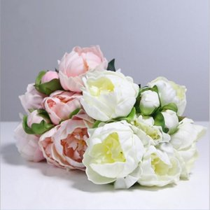 Top Quality Real Touch PU Peony Flower Buds Bouquet 8 Heads Bridal Holding Flower Home Living Decor Ornament 50 Bundles