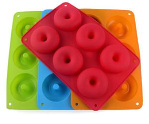 Hot Home Ristorazione 6-cavità Silicone Donut Cottura Vassoio Non-stick Torta Stampo per la produzione di utensile Cuocere antiaderente e resistente al calore riutilizzabile
