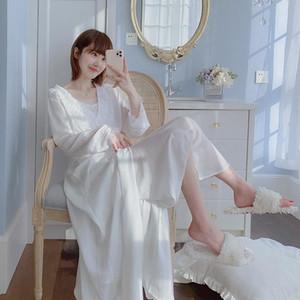 봄 가을 여성 실크 잠옷 세트 섹시한 레이디 레이스 스커트 Pijama 잠옷 2 조각 스파게티 스트랩 새틴 잠옷 homewear