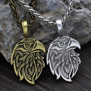 Pingente colares Valknut viking huginn odin corvo amuleto colar de tamanho grande metal cadeia