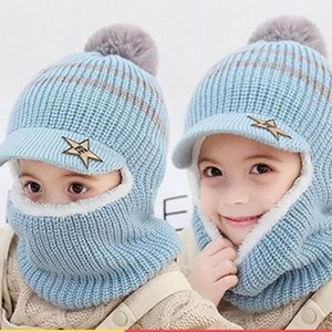 Caps & Hats 2021 Children Knitted Baby Girls Cap Boy Wool Hat Face Scarf Fashion Cute Cat Ears For Kids 2-8 Years Old
