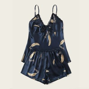 Pajamas For Women Plus Size Sexy-Lingerie Sleepwear Ladies Casual Satin Silk Babydoll Lace Up Nightwear Pajamas Set Pyjama Femme L0304