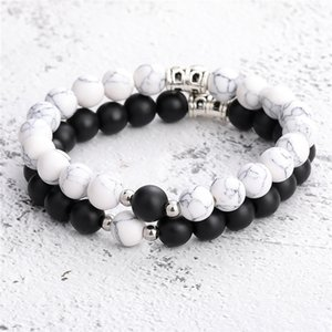 2Pcs Creative Magnet Attract Couples Charm Bracelets Best Friend Lover Natural Stone Beads Crown Stretch Bracelet for Women Kimter-C571FZ