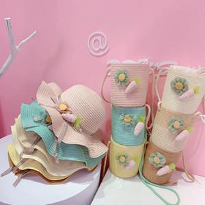 Girls Bucket Hat Bags 2Pcs Sets Spring Summer Flower Kids Straw Hat Purse Beach Kids Caps Children Accessories 3-6Y B4189